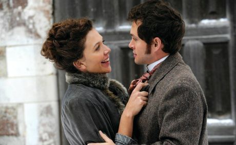 Maggie Gyllenhaal, left, and Hugh Dancy in a scene from the movie Hysteria. Supplied by Image.net. A Hopscotch/ Entertainment One film release..For more info phone 02) 8303 3800.