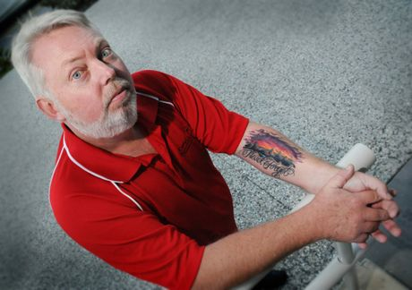 Bruce Morcombe shows his 'Never forget' tattoo he got in rememberance of Daniel. Photo Renee Pilcher / The Gympie Times