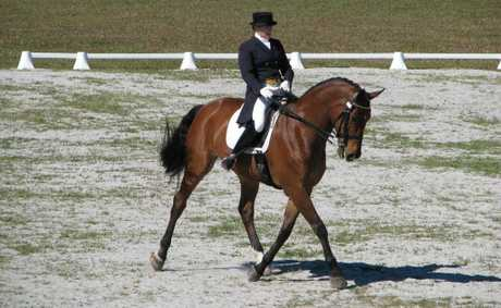 Connie Bookless riding Gymstar One in the Grande Prix Dressage Test.
