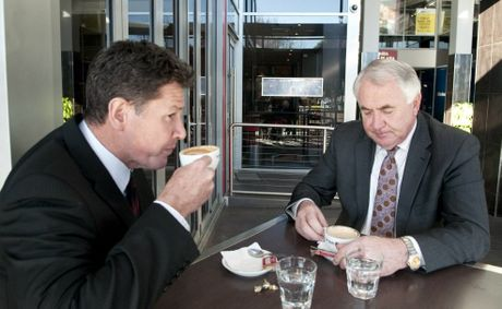 Ken Gouldthorp and Mayor Paul Antonio have a final coffee together after yesterday's shock resignation.