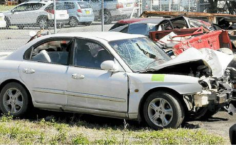 The Hyundai Sonata sedan involved in the fatal crash in Ballina early yesterday morning.