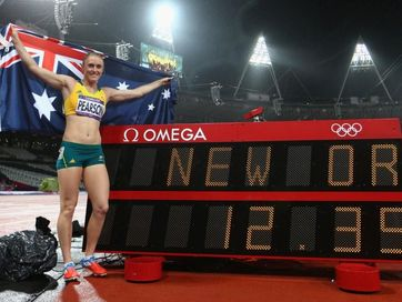 Sally Pearson wins gold in the women's 100m hurdles final on day 11 of the London Olympic Games at Olympic Stadium on August 7, 2012 in London, England.