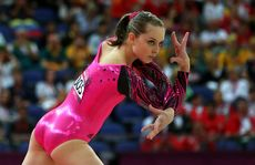 Lauren Mitchell has finished fifth in the women's floor routine.