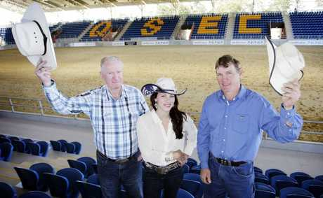 National Rodeo chairman Bill Urquhart, Rodeo Queen 2012 Danika Boland and all-round cowboy David Mawhinney raise their hats to the first rodeo at QSEC this weekend. Photo Vicki Wood / Caboolture News
