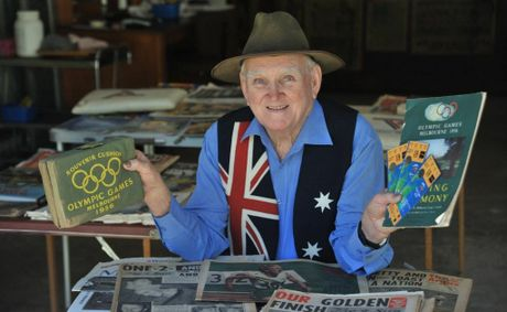 Bush poet John Major with some of his Olympic memorabilia.