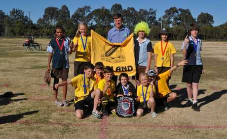 Garland house took out first place on 861 pts. Winners and runners up stand proud, (from back left) Malikah Woodbridge, Alexis Carey, Alan Olsen who donated the medals, Adrian Payne, Julia Walker, Todd Constable, (front) Devon Cooper, Alexander Dwan, Dawson Wright, Todd Payne, Hayley Carey and Kyle Piovesan.