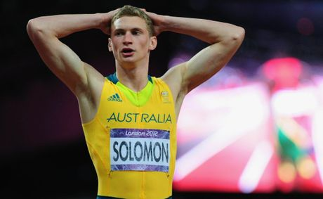 Steven Solomon of Australia reacts after the Men's 400m final on Day 10 of the London 2012 Olympic Games at the Olympic Stadium on August 6, 2012 in London, England.