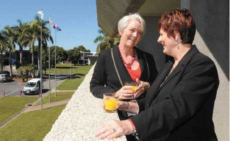 Rockhampton Mayor Margaret Strelow meets with Mackay Mayor Deirdre Comerford.