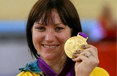 Rockhamptons Anna Meares with her gold medal after winning the sprint at the London 2012 Olympics.