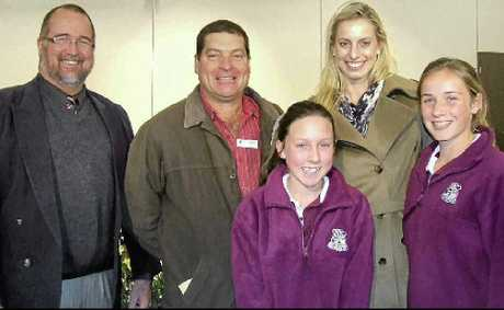 Mayor Peter Blundell with Allora State School chaplain John Briffa, national netballer Laura Geitz and Allora State School students Ella Harrison and Sally Higgins at Thursday's Allora State School chaplaincy dinner.