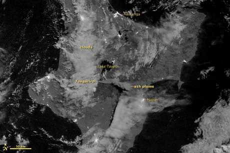NASA says this image shows Mount Tongariro as it appeared at 12:55 a.m. New Zealand time on August 7, 2012.  The image was acquired by the Visible Infrared Imaging Radiometer Suite (VIIRS) on Suomi NPP.