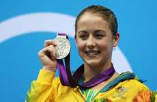 Silver medallist Brittany Broben of Australia poses on the podium during the medal ceremony for the Women's 10m Platform Diving Final on Day 13 of the London 2012 Olympic Games at the Aquatics Centre on August 9, 2012 in London, England.