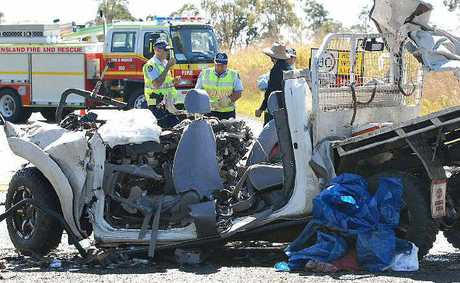 Four people were killed in a head-on crash at Yalboroo, 10km north of Calen, on the Bruce Hwy yesterday. The fifth passenger, an 18-month-old boy, is in Townsville Hospital with critical injuries.