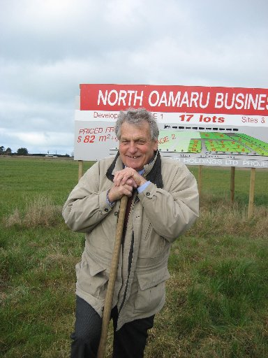 ALL SYSTEMS GO: Tony Spivey snr turns the first sod at the new Oamaru Business Park.