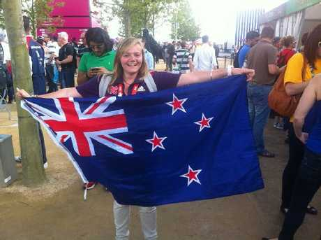 KIWI SUPPORTER: Sonia Holland is working in ticketing at the London Olympics and was meeting friends at Kiwi House when a fire forced the building to be evacuated.PHOTOS/ SUPPLIED