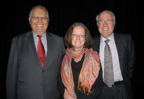 DIALOGUE: Panel members Sir Wira Gardiner, Sue Driver and chairman Sir Geoffrey Palmer at the meeting.