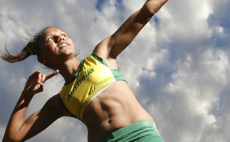 "Junior sprinter Larissa Chambers copies the ""lightning bolt"" pose made famous by Olympic 100m and 200m champion Usain Bolt."