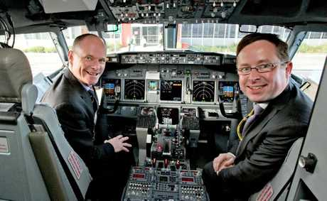 Qantas CEO Alan Joyce and Queensland Premier Campbell Newman.