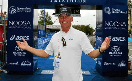 Garth Prowd at the Triathlon finish line.