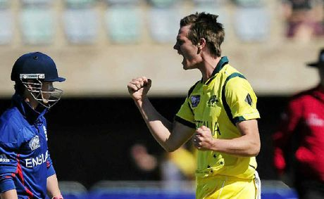 Warwick's Mark Steketee celebrates taking at wicket at the ICC U19 Cricket World Cup.