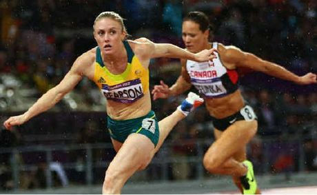 Australia's Sally Pearson leads in the Women's 100m Hurdles final at the 2012 London Olympic Games.