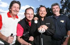 Tournament co-ordinator Rod Daniels, Ipswich Mayor Paul Pisasale, last year's amateur winner Troy McGuiness and club captain Randall McKeand are looking forward to PGA Legends event at the Sandy Gallop Golf Course.