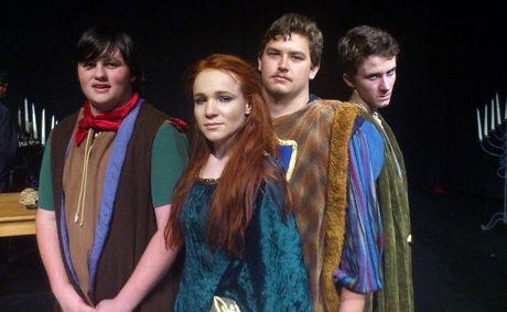 Some of the cast of Kucom Theatre's youth production of The Lion in Winter are, from left, Daniel O'Neill (Prince John), Bek Hall (Princess Alais), Gordon Lowe (Prince Richard) and Daniel Hair (Prince Geoffrey).