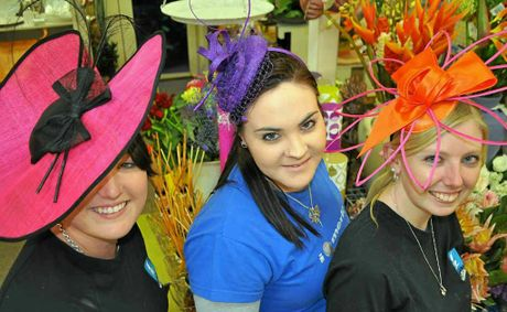 Tash Gaiter, Marlee Mason and Holly Lubben spruce up in the new fascinators at Bryson's Place, ready for the races this weekend.