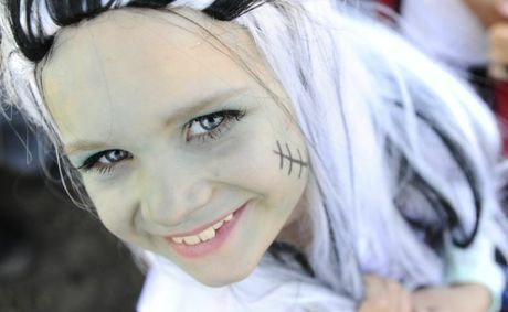 Saskia McGrath, 7 of South Grafton Public School shows off her Frankenstein costume at the schools Book character parade.