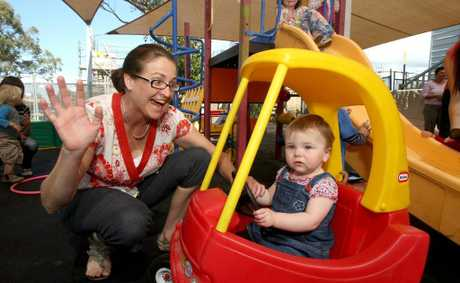 Mum Rachael Dean with bub Ella having fun at the Pottsville Beach Neighbourhood Centre.