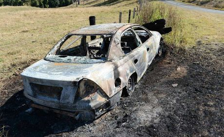 This burnt out car on Eel Creek Rd was believed to have been stolen from Gympie and dumped at Langshaw.