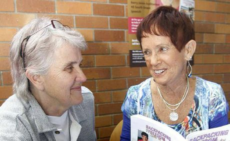 Bundamba resident Judy Driscoll (left) with author of a new book Backpacking to Freedom, Maggie Counihan, at the Ipswich Library.