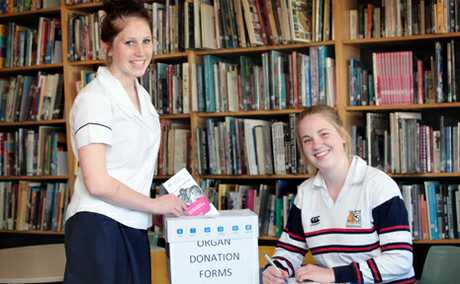 Centenary SHS students Izzy Bishell, 17 and Maddie Capel, 17 are promoting organ donation in line with their health unit. Photo: Inga Williams / The Satellite