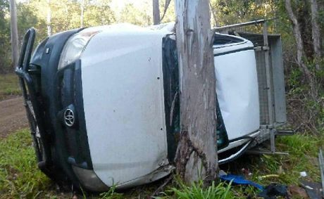 The driver escaped with scratches after losing control of his vehicle on Heathcote Rd, the back road to the Gympie Music Muster site.