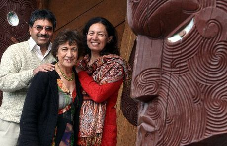 Guna Magesan (left), Sita Emery and Waitiahoaho Emery will attend the first Maori-Indian hui in October.