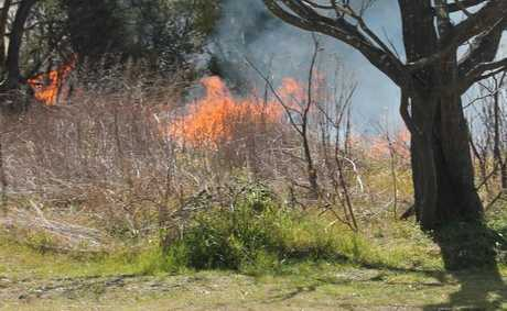 BLAZING: Grass fires have been a common sight across the Granite Belt throughout the last week. Photo Linden Morris / Stanthorpe Border Post