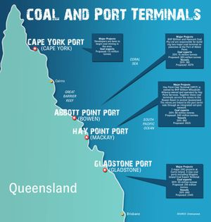 Coal and Port Map of Queensland. APN Centro Art. Photo Kara Irving / The Observer