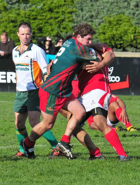 BARGING IN: Wairarapa-Bush hooker Richard Puddy on the charge in the Jeremy David Trophy match with Poverty Bay, won by Wairarapa-Bush 46-14. Puddy will start at hooker this weekend.