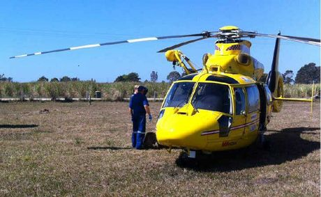 The Westpac Life Saver Rescue Helicopter at the scene where a cane farmer was critically burned at Harwood.