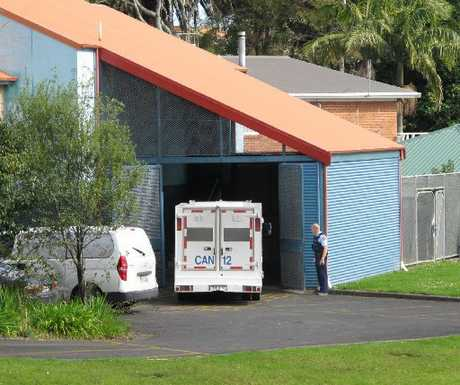 A prison wagon arrives at Kaitaia District Court for James Parker, who was remanded in custody until November 15