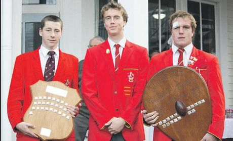 Joel Willetts (soccer), Cameron Pease (head boy) and Tim Cadwallader (rugby). Photo / Supplied
