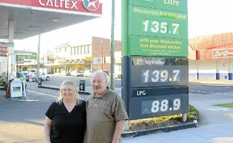 Coutts Crossing's Pauline and Douglas Taylor, right, are glad to see changes to fuel sign boards. Photo: Terry Deefholts