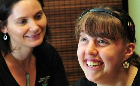 Noosa District Speech Pathologist Alex Wilbers is noticing improvements with Rachel Thompson after helping her with communication and speech difficulties.