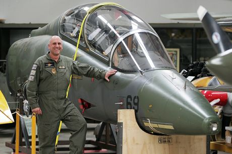 Classic Flyers' CEO Andrew Gormlie with the latest acquisition, a retired RNZAF Macchi.