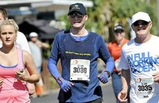 Matt Golinski competes in the 10km run with friends and family in the Sunshine Coast Marathon and Community Run Festival.