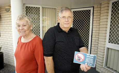 Beverley and Bruce Kneller do not want door knockers. Photo Vicki Wood / Caboolture News