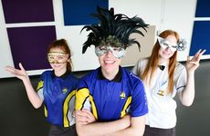 Bremer High year 11 students (from left) Josie Green, Wade Hille and Mykayla Ball try on eye wear for Saturday's masquerade ball.