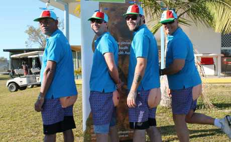Winner of Best Dressed Team at the recent CQ Health Assess golf day were the BB Buttholes from BB Print Mackay. From left are Gamini Suriachi, Tim Avery, John Bitcon and Gary Bye.