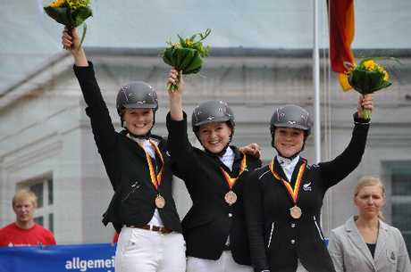 Bronze for the New Zealand team at the 10th World University Equestrian Championships in Aachen. (From left) Chloe Akers (Opiki), Rachael Bentall (Hawke's Bay) and Helen Bruce (Feilding). Photo / Denise Bentall