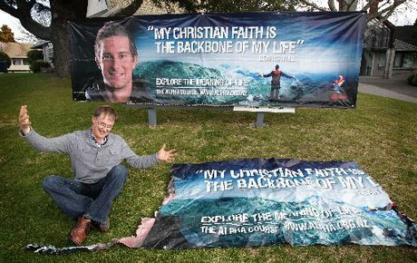 Rev Donald Hegan is not too torn up about his ripped Bear Grylls sign, he would rather look at the positive side.
